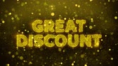 impaginazione : Great Discount Text Golden Glitter Glowing Lights Shine Particles. Sale, Discount Price, Off Deals, Offer promotion offer percent discount ads 4K Loop Animation. Filmati Stock