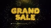 brochura : Grand Sale Text on Gold Glitter Particles Spark Exploding Fireworks Display. Sale, Discount Price, Off Deals, Offer Promotion Offer Percent Discount ads 4K Loop Animation.