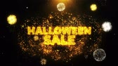 impaginazione : Halloween Sale Text on Firework Display Explosion Particles. Sale, Discount Price, Off Deals, Offer promotion offer percent discount ads 4K Loop Animation.