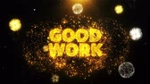 équipe de travail : Good Work Text on Firework Display Explosion Particles. Sale, Discount Price, Off Deals, Offer promotion offer percent discount ads 4K Loop Animation. Vidéos Libres De Droits