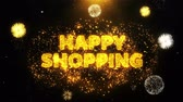 special offers : Happy Shopping Text on Firework Display Explosion Particles. Sale, Discount Price, Off Deals, Offer promotion offer percent discount ads 4K Loop Animation.