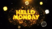 monção : Hello Monday Text on Firework Display Explosion Particles. Sale, Discount Price, Off Deals, Offer promotion offer percent discount ads 4K Loop Animation.