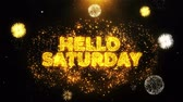 comique : Hello Saturday Text on Firework Display Explosion Particles. Sale, Discount Price, Off Deals, Offer promotion offer percent discount ads 4K Loop Animation. Vidéos Libres De Droits