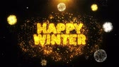 граница : Happy Winter Text on Firework Display Explosion Particles. Sale, Discount Price, Off Deals, Offer promotion offer percent discount ads 4K Loop Animation. Стоковые видеозаписи