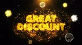 impaginazione : Great Discount Text on Firework Display Explosion Particles. Sale, Discount Price, Off Deals, Offer promotion offer percent discount ads 4K Loop Animation.