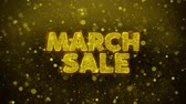womens : March Sale Text Golden Glitter Glowing Lights Shine Particles. Sale, Discount Price, Off Deals, Offer promotion offer percent discount ads 4K Loop Animation. Stock Footage