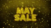 flyer design : Mai Sale Text Golden Glitter Glowing Lights Shine Partikel. Sale, Discount Price, Off Deals, Angebot Promotion Angebot Prozent Rabatt Anzeigen 4K Loop Animation. Stock Footage