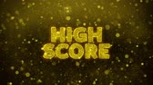 receber : High Score Text Golden Glitter Glowing Lights Shine Particles. Sale, Discount Price, Off Deals, Offer promotion offer percent discount ads 4K Loop Animation.
