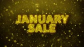 styczeń : January Sale Text Golden Glitter Glowing Lights Shine Particles. Sale, Discount Price, Off Deals, Offer promotion offer percent discount ads 4K Loop Animation.