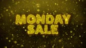 décembre : Monday Sale Text Golden Glitter Glowing Lights Shine Particles. Sale, Discount Price, Off Deals, Offer promotion offer percent discount ads 4K Loop Animation. Vidéos Libres De Droits