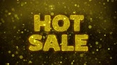 flyer design : Heißer Verkaufstext Golden Glitter Glowing Lights Shine Particles. Sale, Discount Price, Off Deals, Angebot Promotion Angebot Prozent Rabatt Anzeigen 4K Loop Animation.