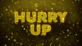 brochura : Hurry Up Text Golden Glitter Glowing Lights Shine Particles. Sale, Discount Price, Off Deals, Offer promotion offer percent discount ads 4K Loop Animation. Stock Footage
