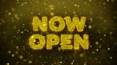 brochura : Now Open Text Golden Glitter Glowing Lights Shine Particles. Sale, Discount Price, Off Deals, Offer promotion offer percent discount ads 4K Loop Animation.