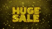 cena : Huge Sale Text Golden Glitter Glowing Lights Shine Particles. Sale, Discount Price, Off Deals, Offer promotion offer percent discount ads 4K Loop Animation.