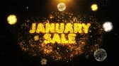 styczeń : January Sale Text on Firework Display Explosion Particles. Sale, Discount Price, Off Deals, Offer promotion offer percent discount ads 4K Loop Animation. Wideo
