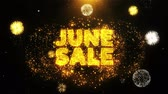 ヘッダー : June Sale Text on Firework Display Explosion Particles. Sale, Discount Price, Off Deals, Offer promotion offer percent discount ads 4K Loop Animation.