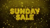 mais : Sunday Sale Text Golden Glitter Glowing Lights Shine Particles. Sale, Discount Price, Off Deals, Offer promotion offer percent discount ads 4K Loop Animation.