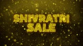 kopbal : Shivratri Sale Text Golden Glitter Glowing Lights Shine Particles. Verkoop, kortingsprijs, off-deals, aanbieding promotie aanbieding procent korting advertenties 4K Loop Animation. Stockvideo