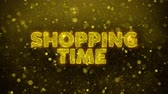 quality time : SHOPPING TIME Text Golden Glitter Glowing Lights Shine Particles. Sale, Discount Price, Off Deals, Offer promotion offer percent discount ads 4K Loop Animation.