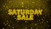 brochura : Saturday Sale Text Golden Glitter Glowing Lights Shine Particles. Sale, Discount Price, Off Deals, Offer promotion offer percent discount ads 4K Loop Animation. Stock Footage