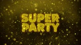 flyer design : Super Party Text Golden Glitter Glowing Lights Shine Particles. Sale, Discount Price, Off Deals, Offer promotion offer percent discount ads 4K Loop Animation.