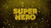 comique : Super Hero Text Golden Glitter Glowing Lights Shine Particles. Sale, Discount Price, Off Deals, Offer promotion offer percent discount ads 4K Loop Animation.
