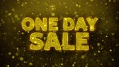 brochura : One Day Sale Text Golden Glitter Glowing Lights Shine Particles. Sale, Discount Price, Off Deals, Offer promotion offer percent discount ads 4K Loop Animation. Stock Footage