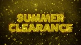 flyer design : Summer Clearance Text Golden Glitter Glowing Lights Shine Particles. Sale, Discount Price, Off Deals, Offer promotion offer percent discount ads 4K Loop Animation. Videos