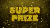 promotional : Super Prize Text Golden Glitter Glowing Lights Shine Particles. Sale, Discount Price, Off Deals, Offer promotion offer percent discount ads 4K Loop Animation. Stock Footage