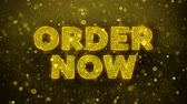 commerce : Order Now Text Golden Glitter Glowing Lights Shine Particles. Sale, Discount Price, Off Deals, Offer promotion offer percent discount ads 4K Loop Animation.