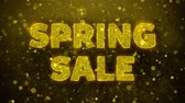 flyer design : Spring sale Text Golden Glitter Glowing Lights Shine Particles. Sale, Discount Price, Off Deals, Offer promotion offer percent discount ads 4K Loop Animation.