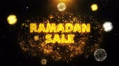 ramadan kareem : Ramadan Sale Text on Firework Display Explosion Particles. Sale, Discount Price, Off Deals, Offer promotion offer percent discount ads 4K Loop Animation.