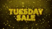 martes : Tuesday Sale Text Golden Glitter Glowing Lights Shine Particles. Sale, Discount Price, Off Deals, Offer promotion offer percent discount ads 4K Loop Animation.