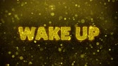 campana : Wake Up Text Golden Glitter Glowing Lights Shine Particles. Sale, Discount Price, Off Deals, Offer promotion offer percent discount ads 4K Loop Animation.