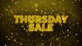 воскресенье : Thursday Sale Text Golden Glitter Glowing Lights Shine Particles. Sale, Discount Price, Off Deals, Offer promotion offer percent discount ads 4K Loop Animation.