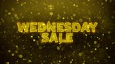 wednesday : Wednesday Sale Text Golden Glitter Glowing Lights Shine Particles. Sale, Discount Price, Off Deals, Offer promotion offer percent discount ads 4K Loop Animation. Stock Footage