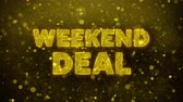 brochura : Weekend Deal Text Golden Glitter Glowing Lights Shine Particles. Sale, Discount Price, Off Deals, Offer promotion offer percent discount ads 4K Loop Animation. Stock Footage