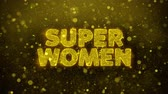 flyer design : Super Women Text Golden Glitter Glowing Lights Shine Particles. Sale, Discount Price, Off Deals, Offer promotion offer percent discount ads 4K Loop Animation.