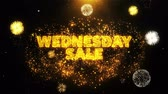 wednesday : Wednesday Sale Text on Firework Display Explosion Particles. Sale, Discount Price, Off Deals, Offer promotion offer percent discount ads 4K Loop Animation.
