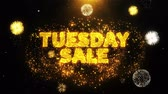 전체의 : Tuesday Sale Text on Firework Display Explosion Particles. Sale, Discount Price, Off Deals, Offer promotion offer percent discount ads 4K Loop Animation.
