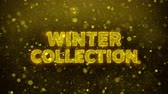 brochura : Winter Collection Text Golden Glitter Glowing Lights Shine Particles. Sale, Discount Price, Off Deals, Offer promotion offer percent discount ads 4K Loop Animation. Stock Footage
