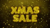 décembre : XMAS Sale Text Golden Glitter Glowing Lights Shine Particles. Sale, Discount Price, Off Deals, Offer promotion offer percent discount ads 4K Loop Animation.