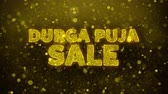 Бенгалия : Durga Puja Sale Text Golden Glitter Glowing Lights Shine Particles. Sale, Discount Price, Off Deals, Offer promotion offer percent discount ads 4K Loop Animation. Стоковые видеозаписи