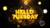martes : Hello Tuesday Text on Firework Display Explosion Particles. Sale, Discount Price, Off Deals, Offer promotion offer percent discount ads 4K Loop Animation.