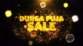 Бенгалия : Durga Puja Sale Text on Firework Display Explosion Particles. Sale, Discount Price, Off Deals, Offer promotion offer percent discount ads 4K Loop Animation.