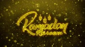 ramadan kareem : Ramadan Kareem wish Text Golden Glitter Glowing Lights Shine Particles. Greeting card, Wishes, Celebration, Party, Invitation, Gift, Event, Message, Holiday, Festival 4K Loop Animation. Stock Footage