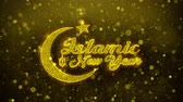süsler : Islamic New Year wish Text Golden Glitter Glowing Lights Shine Particles. Greeting card, Wishes, Celebration, Party, Invitation, Gift, Event, Message, Holiday, Festival 4K Loop Animation.