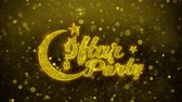 ramadan kareem : Iftar Party wish Text Golden Glitter Glowing Lights Shine Particles. Greeting card, Wishes, Celebration, Party, Invitation, Gift, Event, Message, Holiday, Festival 4K Loop Animation.