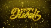 süsler : Happy Diwali wish Text Golden Glitter Glowing Lights Shine Particles. Greeting card, Wishes, Celebration, Party, Invitation, Gift, Event, Message, Holiday, Festival 4K Loop Animation.