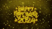 invito festa : Happy New Year 2024wish Text Golden Glitter Glowing Lights Shine Particles. Greeting card, Wishes, Celebration, Party, Invitation, Gift, Event, Message, Holiday, Festival 4K Loop Animation.